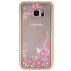 For Samsung Galaxy S7 Edge Rhinsten Belægning Transparent Mønster Etui Bagcover Etui Blomst Hårdt Metal for SamsungS7 edge S7 S6 edge