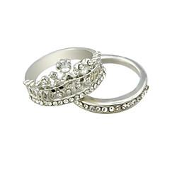 Silver Plated Rhinestone Crown Shape Fingers Rings Set