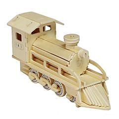 puslespil 3D-puslespil Træpuslespil Byggesten Gør Det Selv Legetøj Tog Træ Guld Model- og byggelegetøj