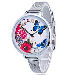 Women/Lady's Gold/Silver Steel Thin Band Butterfly White Round Case Analog Quartz Fashion Watch