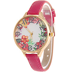 Women's Fashion Watch Wrist watch Casual Watch / Quartz Leather Band Flower Cool Casual Black White Blue Orange Brown Pink Rose