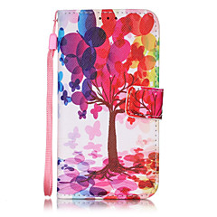 Color Tree Pattern PU Leather Lanyard phone Case For Apple iPhone 7 7 Plus iPhone 6 6 plus iPhone 5