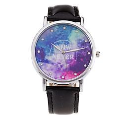New Fashion Watch Women Star Sky Pattern Rhinestone Casual Quartz Watch Ladies Popular Leather Strap Elegant Wristwatch