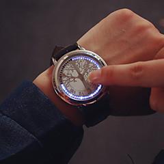 Herre Armbåndsur Unik Creative Watch Digital LED Touchscreen Læder Bånd Sort Sort Sølv