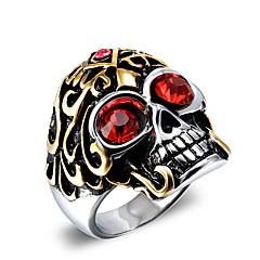 Férfi Vallomás gyűrűk Divat Régies (Vintage) Punk stílus jelmez ékszerek Cirkonium Titanium Acél Skull shape Ékszerek Kompatibilitás Napi