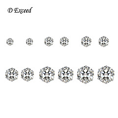 D Exceed New Style Cubic Zirconia Studs for Women and Men Hot-selling Earring Sets 6 Pairs 3mm-8mm