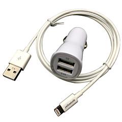 fcc ce gecertificeerd auto belast 1a / 2.1A dubbele uitgang + appel mfi gecertificeerde bliksem falt kabel voor iPhone 6 iPad iPod