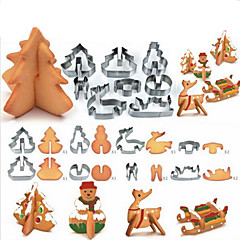 8pcs 3D Christmas Scenario Cookie Cutter Set Decoration Stainless Steel Cutter Cookie Fondant Cake Mould