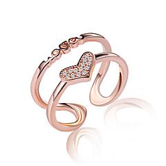 Ringe Krystal Imiteret Diamant Sexet På tværs Mode Justérbar Yndig Multi-bæremåder beklædning Bryllup Fest Daglig Afslappet Smykker Sølv