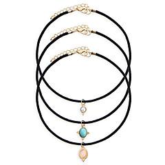 3pcs/set Women's Fashion Luxury European Vintage Oval Pendant Choker Necklace for Women