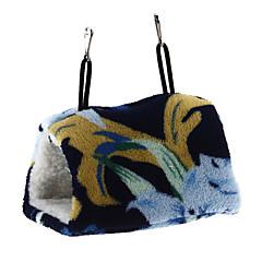 uccello amaca gabbia appesa grotta letto capanna modello fiore blu agnello beige lana s