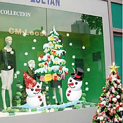 karácsony kirakat kijelző fehér hóember színes a fal matrica 50 * 70cm