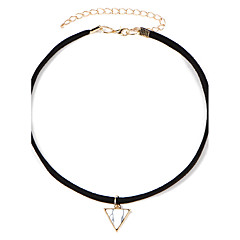 Women's Fashion Luxury European Punk Style Vintage Striangle Pendant Choker Necklace for Women