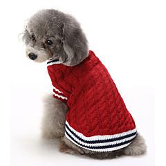 Katte Hunde Bluser Hundetøj Vinter Farveblok Afslappet/Hverdag Hold Varm Jul Rød Blå
