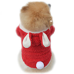 Cat Dog Costume Hoodie Dog Clothes Winter Spring/Fall Solid Cute Cosplay Purple Red Pink