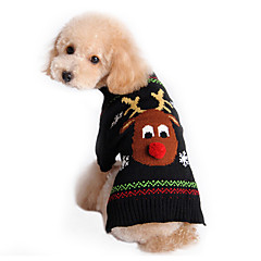 Cat / Dog Sweater Black Dog Clothes Winter Deer Cute / Keep Warm / Christmas