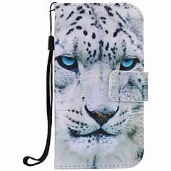 Til samsung galaxy s7 kant s7 tilfælde cover hvid leopard maleri pu telefon taske s5 s4 s3
