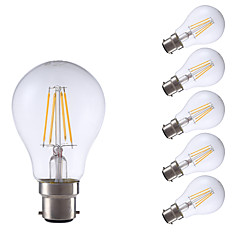 4W B22 Lampadine LED a incandescenza A60(A19) 4 COB 400 lm Bianco caldo Decorativo V 6 pezzi