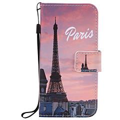 For iPhone 7 etui iPhone 6 etui iPhone 5 etui Pung Kortholder Med stativ Flip Præget Mønster Etui Heldækkende Etui Eiffeltårnet Hårdt