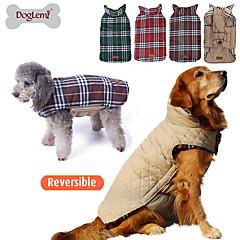 Γάτες / Σκυλιά Παλτά / Veste Κόκκινο / Πράσινο / Καφέ / Μπεζ Ρούχα για σκύλους Χειμώνας Καρό/ΤετραγωνισμένοΜοντέρνα / Διπλής Όψης /