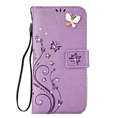 For Samsung Gaiaxy S7 S6 S5 S4 Edge Case Cover Aescin Butterfly Pattern Embossing Point Drill PU Leather Material