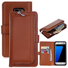 Para Samsung Galaxy S7 Edge Porta-Cartão / Carteira / Flip Capinha Corpo Inteiro Capinha Cor Única Rígida Couro PU SamsungS7 edge / S7 /