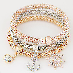 Women Fashion Simple Rhinestones Anchor Rudder Charm Bracelet Gift