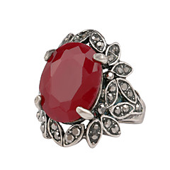Ring Ruby Gemstone Resin Rhinestone Silver Plated Simulated Diamond Alloy Leaf Silver Jewelry Wedding Party Daily Casual 1pc