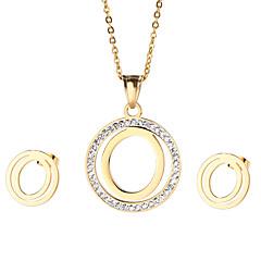Γυναικεία Σετ Κοσμημάτων Στρας Μοντέρνα αρχική Κοσμήματα Ανοξείδωτο Ατσάλι Επιχρυσωμένο 1 Κολιέ 1 Ζευγάρι σκουλαρίκια ΓιαΠάρτι Καθημερινά
