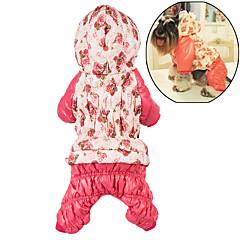 Psy Bluzy z kapturem Kombinezon Ubrania dla psów Zima Kwiatowy/roślinny Urocze Codzienne Zatrzymujący ciepło Rose Różowy