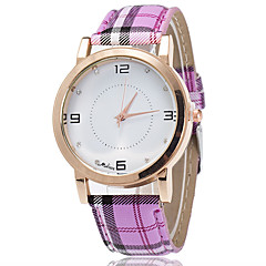 XU Men Fashion Point Drill Contracted English Plaid Strap Watch