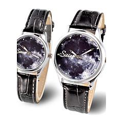 Da coppia Orologio da polso Luminoso Fase lunare / Quarzo Pelle Banda Brillanti Ciondolo Fantastico Nero Marrone