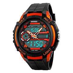 SKMEI Męskie Sportowy LED Kalendarz Chronograf Wodoszczelny Dwie strefy czasowe alarm Stoper Srebrzysty Cyfrowe PU Pasmo Nowoczesne Czarny