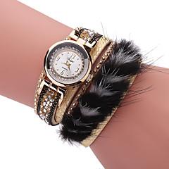 Women's Bracelet Watch Quartz PU Band Black White Blue Red Brown Gold