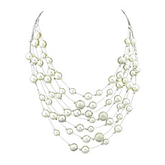 Fashion Multilayers Chunky Imitation Pearl Chain Necklaces
