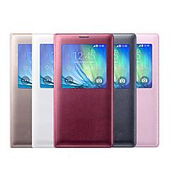 Varten Samsung Galaxy kotelo Ikkunalla / Flip Etui Kokonaan peittävä Etui Yksivärinen Tekonahka Samsung A3