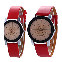 Casal Relógio de Moda Relógio de Pulso Quartzo / PU Banda Vintage Legal Casual Preta Branco Azul RoxaRoxo Preto/Marron Vermelho Azul Rosa