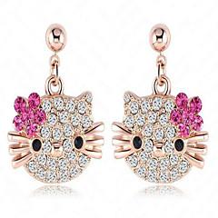 Damskie Kolczyki na sztyft Kryształ Modny Słodkie Style Stop Animal Shape Kot Biżuteria Na Codzienny