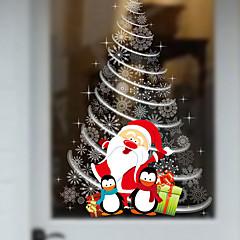 Uuden joulu näyteikkunoissa lasi koriste seinä tarroja joulupukki joulukuusi 60 * 90cm