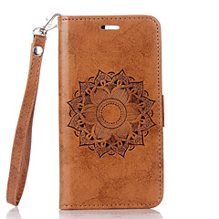 For Card Holder / with Stand / Flip Case Full Body Case Flower Hard PU Leather for LG LG K10 / LG K8 / LG K7 / LG G4 / LG G3