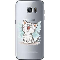 For Ultratyndt Transparent Mønster Etui Bagcover Etui Kat Blødt TPU for Samsung S7 edge S7 S6 edge plus S6 edge S6