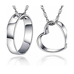 Necklace Chain Necklaces Jewelry Casual Heart Basic Design Sterling Silver Couples 1pc Gift Silver