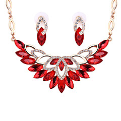 Women Wedding Bridal Bohemian Exquisite Crystal Flower Pattern Necklace Earrings Two-piece Suit