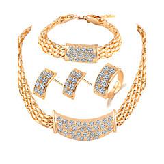 Sieraden set Bergkristal Sterling zilver Legering Basisontwerp Sieraden Goud Bruidssieradensets Feest 1 Set1 Paar Oorbellen 1 Armband