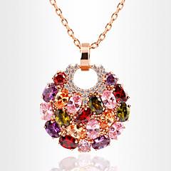 Women's Pendant Necklaces Crystal Rhinestone Circle Round Geometric Zircon Cubic Zirconia Alloy Dangling Style Luxury Rainbow Jewelry For