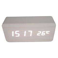 raylinedo® dernière blanc en bois blanc de la mode de conception affichage LED réveil numérique -time date de température en bois clair -