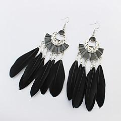 Drop Earrings Jewelry Women Party Alloy Feather Tassel 1 pair