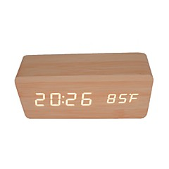 RayLineDo® Latest Design Fashion Bamboo Wood White LED Light Wooden Digital Alarm Clock -Time Temperature Date Display - Voice and Touch Actived