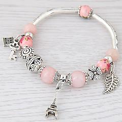 Damskie Bransoletki z breloczkami Kryształ Żywica Stop Modny minimalistyczny styl Leaf Shape Rose Pink Green Niebieski Różowy Biżuteria