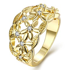 טבעות Party יומי קזו'אל תכשיטים זירקון נחושת ציפוי זהב משובץ זהב ורוד טבעת 1pc,7 8 זהב ורד זהב צהוב